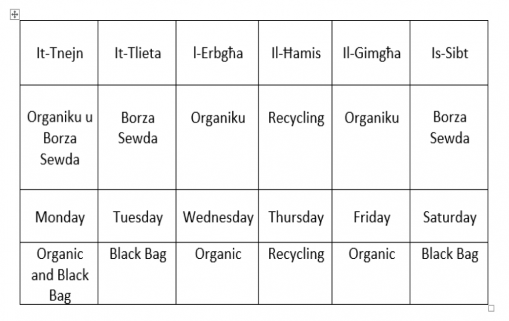 Organic waste collection schedule